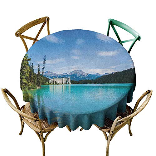 Decor Collection Table ClothsLandscape,Historical Ancient Castle by The Crystal Color Lake Canadian Rurals Art, Turquoise Green D65,Round Tablecloth