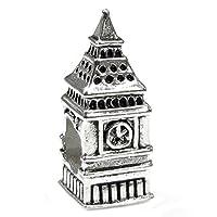 """Encanto de abalorios de estilo europeo """"London Big Ben Clock"""" de Queenberry Sterling Silver Landmark Series"""