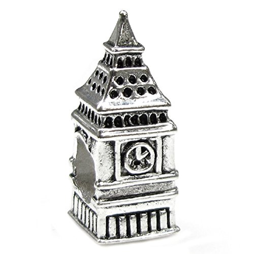 Sterling Silver London Big Ben Clock Bead Charm For European Story Charm 3mm Snake Chain Bracelets (Big Clock Necklace)