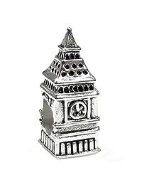 Sterling Silver London Big Ben Clock Bead Charm For European Story Charm 3mm Snake Chain Bracelets