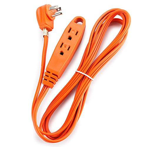 Aurum Cables 8-Feet 3 Outlet Extension Cord Indoor/Outdoor Extension Cord 16AWG - Orange - UL Listed