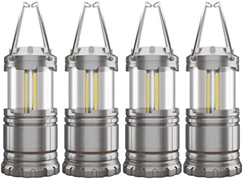 4 Pack COB Camping Lantern, Portable High Lumen Outdoor Camping Flashlight Torch Light, Bright Survival Equipment Gear Kit for Emergency, Hiking, Tent, Backpacking, Outages, Hurricanes, Storms Grey