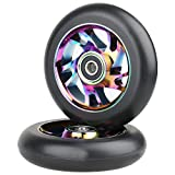 Kutrick Complete Metal 2pcs 100mm Neo Chrome Pro Stunt Scooter Replacement Wheels with ABEC-9 Bearing