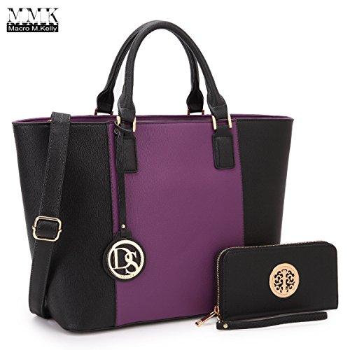MMK Collection Newest Designer Fashion Women Satchel/Tote handbags with Free Matching Wallet(6417)~Designer Purse with Wristlet - Handbag Kelly Bag