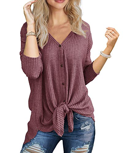 (IWOLLENCE Womens Loose Henley Blouse Bat Wing Long Sleeve Button Down T Shirts Tie Front Knot Tops Rust Red XL)