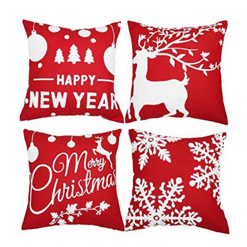 sykting Christmas Pillow Covers with Embroidery Reindeer Snowflakes Christmas Tree Saying Throw Pillow Covers Decorative…