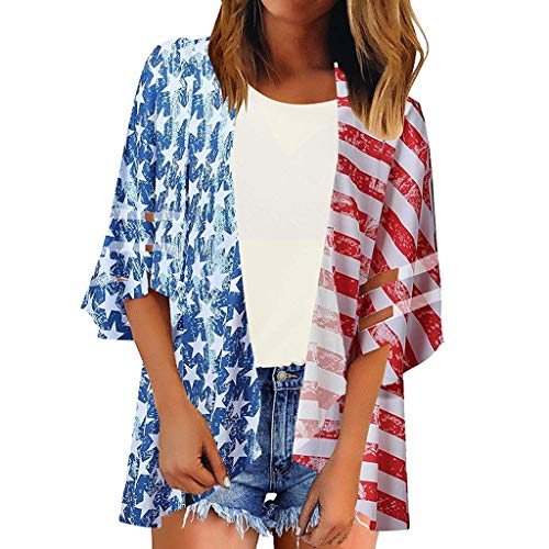 - Women's American Flag Cardigan Mesh Panel Blouse 3/4 Bell Sleeve Loose Top Shirt