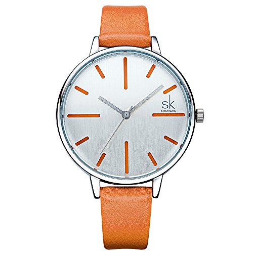 SK Ladies Watches on Sale Women's Leather Band Watches Analog Round Waterproof Watches (K0060-Orange) - Orange Womens Watch