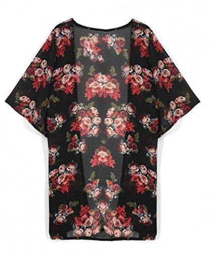Kimono Donna Floreale Cardigan stampato Cardigan Amlaiworld top coprire Chiffon cappotto camicetta top 7waAdYx