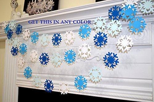 blue white snowflake garland frozen snowflake theme decorations banner christmas snowflake garland blue - Blue Christmas Theme Decorations