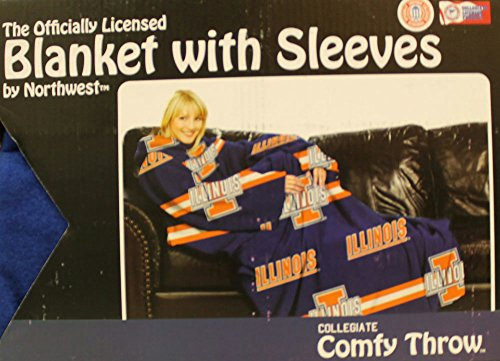 - Comfy Throw Fleece Blanket with Sleeves Licensed College Emblems - Illinois Fighting Illini