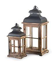 Wooden Vintage Lantern Indoor or Outdoor Decorative Lantern with Rustic Lantern Design - Set of 2