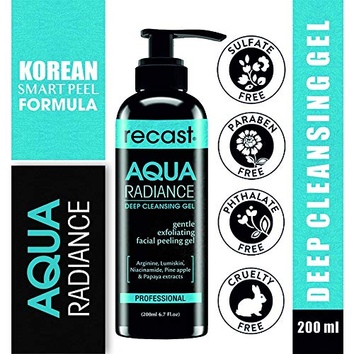 Recast Aqua Radiance Deep Cleansing Gel - Korean Beauty Style Product - Gently removes dead skin cells to reveal instant smoother and brighter complex, Gel to Scrub formula 200ml product image