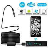 Wireless Endoscope, 1200P HD Wi-Fi Borescope Inspection Camera 2.0 Megapixels Hotop 8 LEDs Waterproof Snake Camera with 5 Meter Wire for Android and IOS 7.0 System, Smartphone, iPhone, Samsung, Tablet