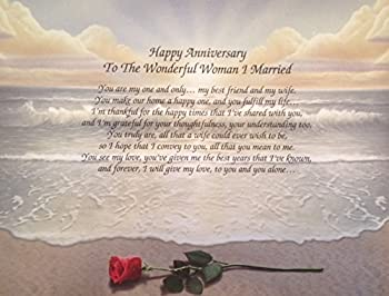 "Anniversary Gift For Wife ""To The Wonderful Woman I Married"" Love Poem 1st 5th 10th 15th 20th 25th 30th Rose on Beach"