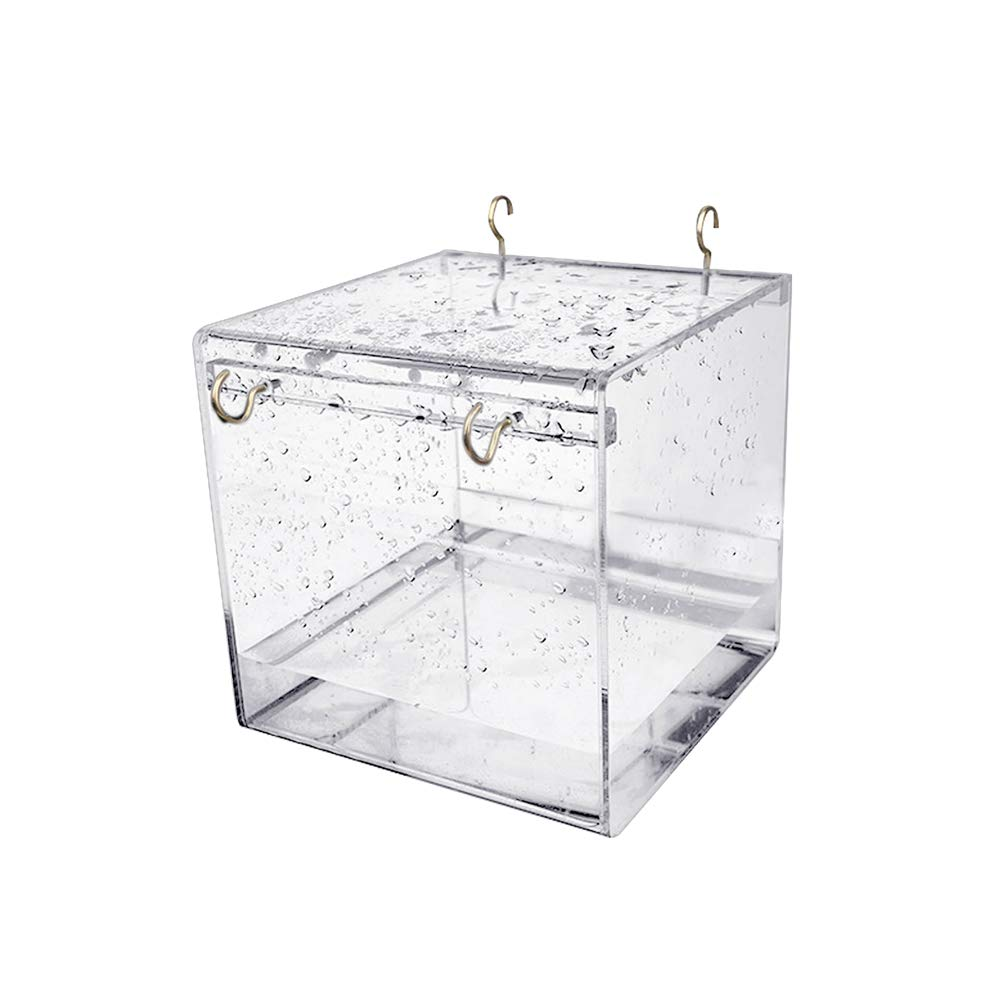 POPETPOP Caged Bird Bath Multi Cage Bird Bath Covered for Small Brids Canary Budgies Parrot (Size L)