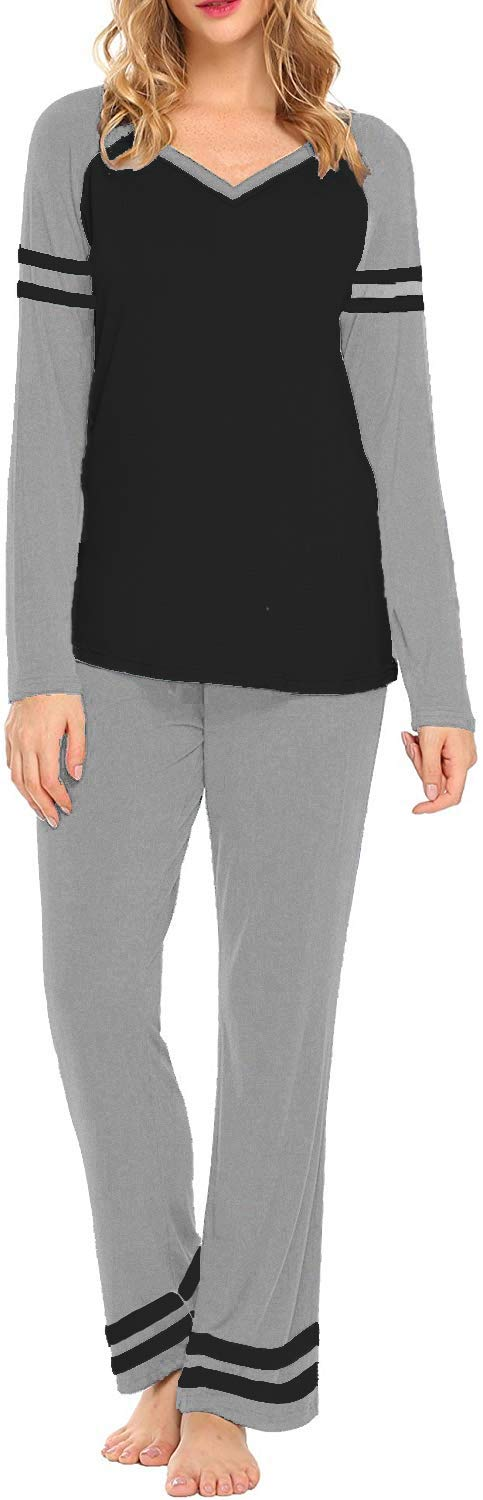 AOVXO Soft Pajama Set for Women Casual V-Neck Long Sleeve Loose Loungewear Set Long Sleeve Tops & Long Sleep Pants with Pockets Loungewear (Grey with Black, XXL)