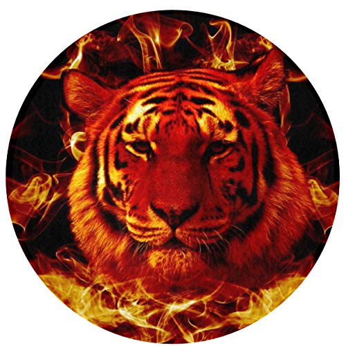 (YafukeMao Fire Flaming Tiger Face 3D Printing Doormat Outdoor Indoor Door Mats Thin Non Slip Carpets for Front Door Kitchen Bedroom Garden 23.6
