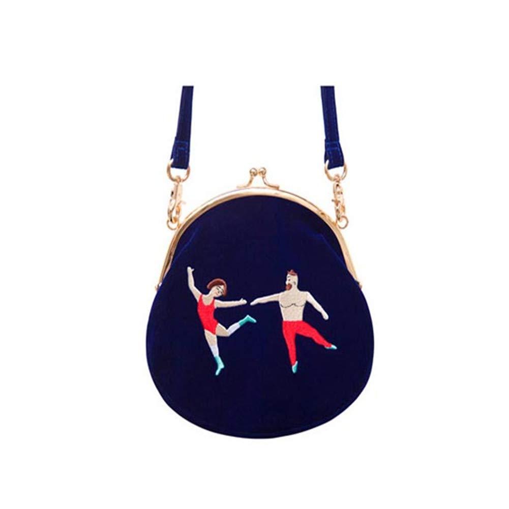 Velvet Embroidery Women Messenger Round Shape Original Designed