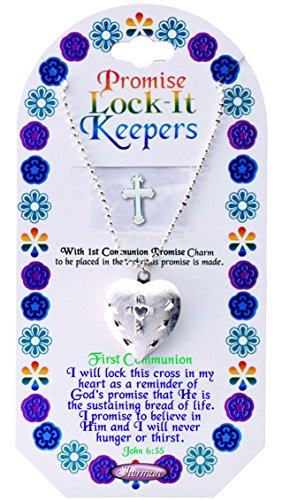First Communion Prayer Lock It Keepers Heart Necklace With Cross Charm