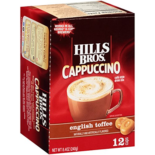 Hills Bros Cappuccino, English Toffee, Single Serve Coffee Cups, 12 Count
