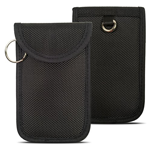 Naviurway Small Keyfobs Guard Super Mini Keyless Remote Holder Faraday Bag for Smart Key Fob NFC Credit Card Driver License (2 Pieces Black)