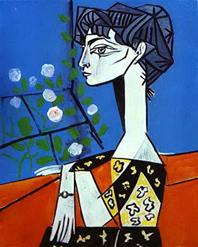Toperfect $50-$2000 Custom Made - Hand Painted Art Paintings of Jacqueline with Flowers 1954 Cubism Famous Oil Painting on Canvas for Wall Art Decor mtpa1 -Size18 ()
