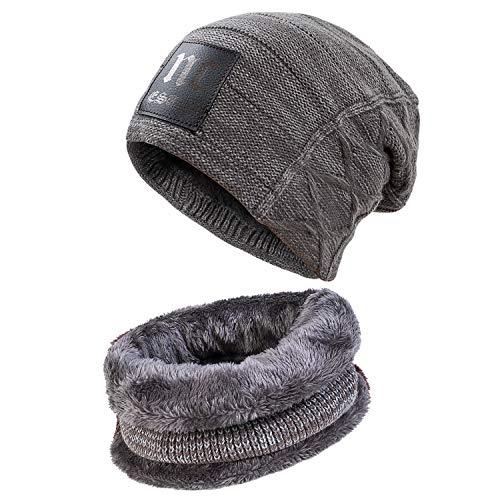 PAGE ONE Mens Winter Beanie Scarf Set Warm Knit Hat Mens Thick Fleece Lined Winter Beanie & Scarf Men Women(Grey)