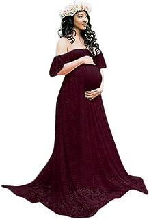 Vestito da maternità Photography,BYSTE Gonna delle Donne Incinte Floreale Maniche Volanti, Manica Corta Pizzo Abiti Trailing Abito Lunga Eleganti Vestiti maternità per Fotografia