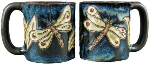 - One (1) MARA STONEWARE COLLECTION - 16 Oz Coffee/Tea Cup Collectible Dinner Mugs - Dragonfly Insect Design