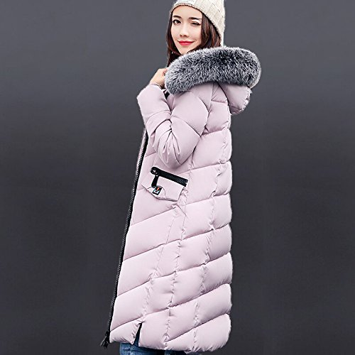 XL Down Jacket Big DYF Zipper Hat Solid Warm size Pink Coat Color Loose Pocket 7BqUqx