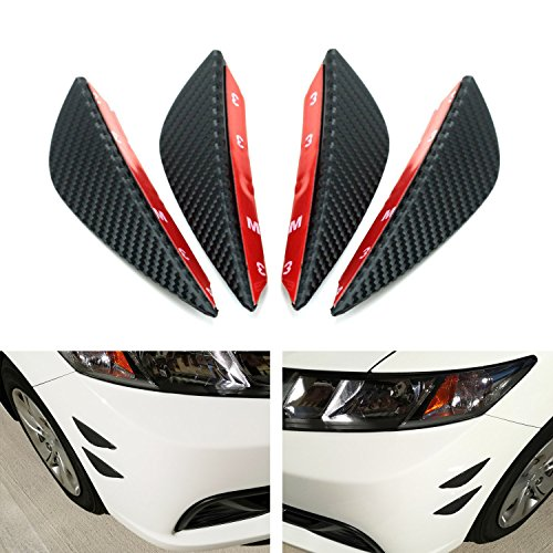 "iJDMTOY 4pcs Black Matte Finish Dry ""Carbon Fiber"" Patten Front Bumper Canard, Body Diffuser Fins, Universal Fit For Any Car"