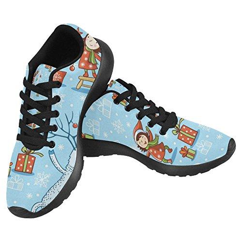 InterestPrint Womens Jogging Running Sneaker Lightweight Go Easy Walking Casual Comfort Sports Running Shoes Christmas New Year Girl and Deer Multi 1 jVuV6xa