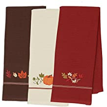 """DII Cotton Thanksgiving Fall Holiday Decorative Dish Towels, 18x28"""", Set of 3-Harvest Pumpkin"""
