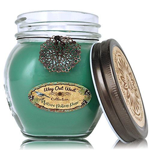 Way Out  West Candles Scented with Native Pinon Pine/Pinyon - Large 17 oz Jar Candle- Southwestern Style -Long Lasting, Soy Wax Blend - A Favorite Gift for Men & Nature Lovers - Made in America! - incensecentral.us