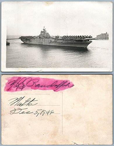 BRITISH AIRCRAFT CARRIER MALTA 1946 VINTAGE REAL PHOTO POSTCARD RPPC