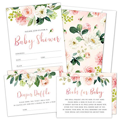 Invitation Baby Shower (Set of 25 Floral Baby Shower Invitations, Diaper Raffle Tickets and Baby Shower Book Request Cards with Envelopes. It's a Girl Pink Boho Fill-in Invites for Baby)