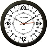 TRINTEC 24 HORAS hora militar SWL ZULU tiempo 24 horas R reloj de pared 25,4 cm