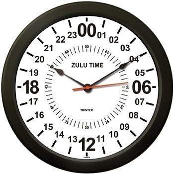 "New TRINTEC 24 Hour Clock 10/"" BLACK Military ZULU Time  Instrument Clock 24-hr10"