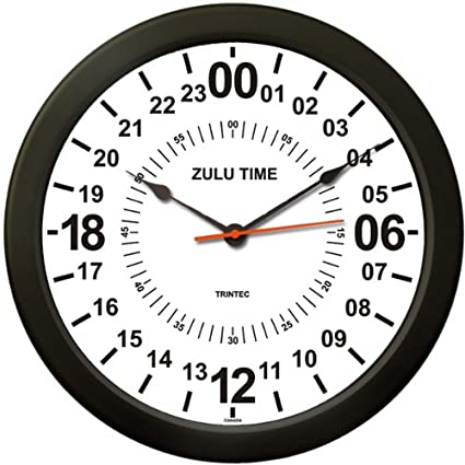 Military Time Clock >> Amazon Com Trintec 24 Hour Military Time Swl Zulu Time 24hr Wall