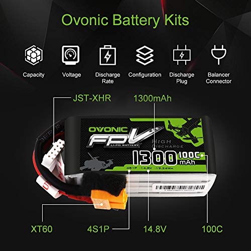 OVONIC 14.8V 1300mAh 100C 4S LiPo Battery Pack with XT60 Plug for FPV Racing RC Quadcopter Helicopte - http://coolthings.us