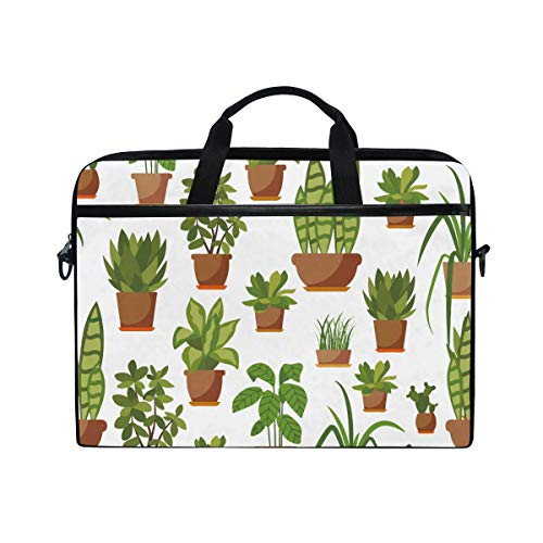 White House Cactus Plant Potted Laptop Briefcase,15-15.4 Inch Laptop Bag,Business Office Bag Men Women,Stylish Nylon Multi-Functional Shoulder Messenger Bag Notebook Computer - 2 Laptop In And Hp White 1 Tablet