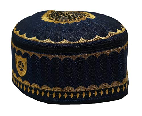 Alwee ALW001 Men's Muslim Prayer Kufi Hat Skull Cap Islam takke Praying Beanie (23.5 inch (59.5 cm.), Dark Blue)