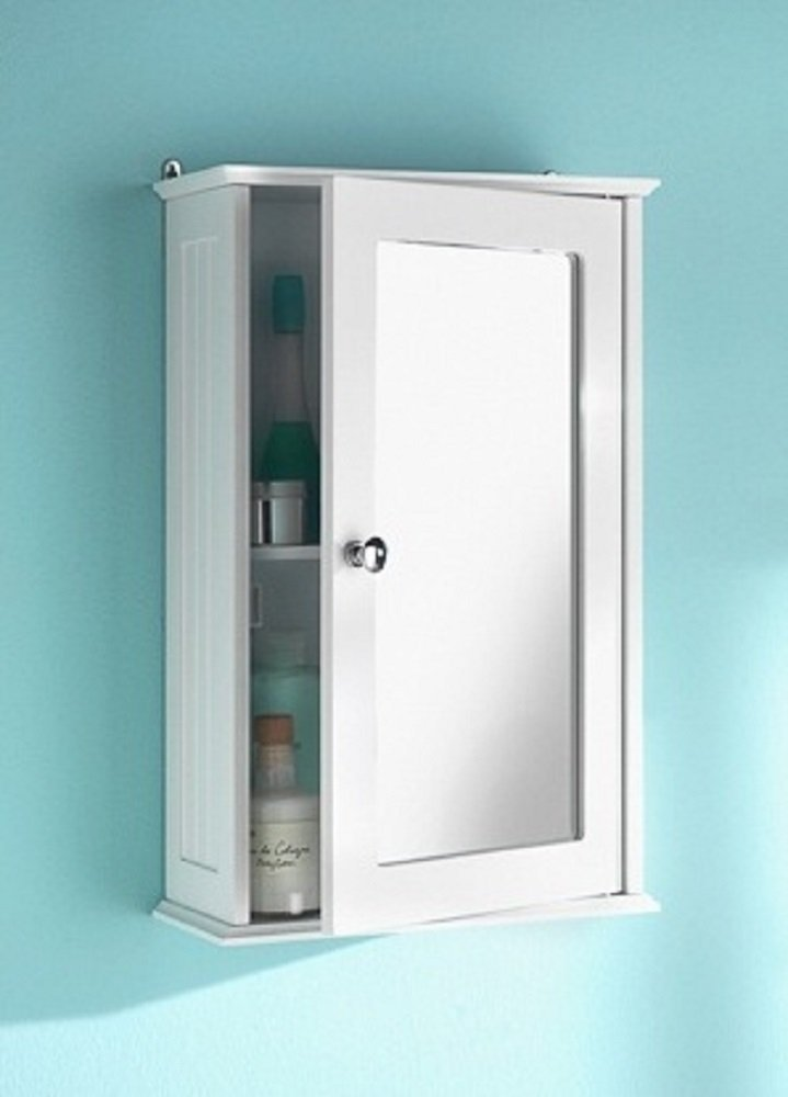 Amazon White Maine Single Mirrored Door Bathroom Cabinet By
