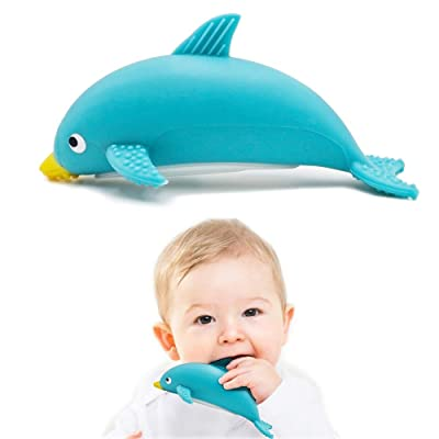 Home product image LONGFITE Baby Dolphin Teether Toys BPA Free Silicone Chew Teething Bath Toys (Blue) : Baby