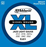 D'Addario EJ21 Nickel Wound Electric Guitar Strings, Jazz Light, 12-52, Outdoor Stuffs