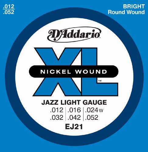 D'Addario EJ21 Nickel Wound Electric Guitar Strings, Jazz Light, 12-52, Outdoor Stuffs