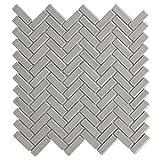 MTO0122 Classic Herringbone Beige Grey Glossy Porcelain Mosaic Tile