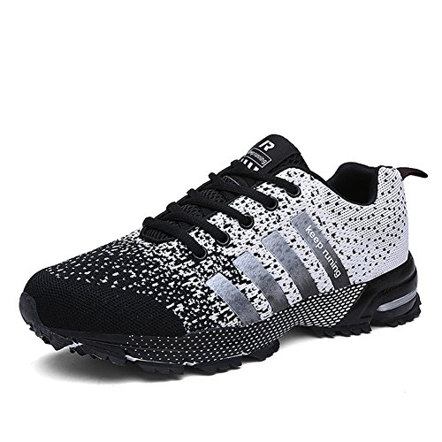 KUBUA Mens Running Shoes Trail Fashion Sneakers Tennis Sports Casual Walking Athletic Fitness Indoor and Outdoor Shoes for Men F Black Women 14 M US/Men 13 M US
