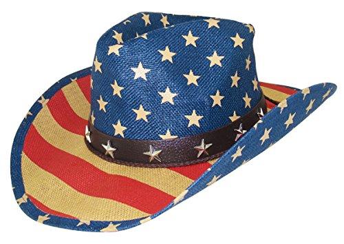 Funny World Men's American Flag Straw Western Cowboy Hat -